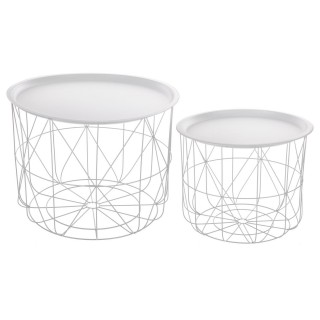 2 Tables gigognes filaires Mood - Diam. 43/53 cm - Blanc