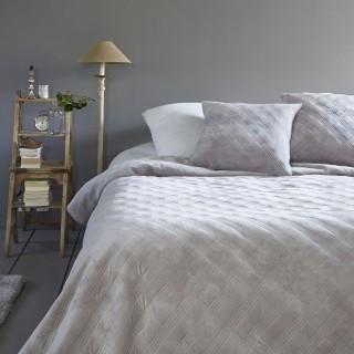 Dessus de lit avec 2 Taies Velours - 240 x 260 cm - Gris clair
