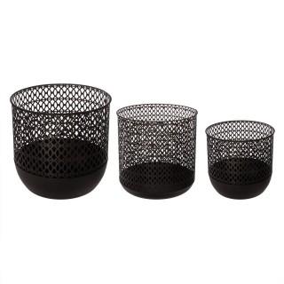 3 Paniers de rangement filaires Contemp - Métal - Noir
