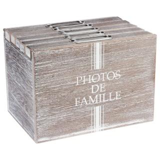 Boîte à photos Douce Campagne - 17 x H. 12 cm - Marron