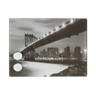 Boîte à clés magnétique Manhattan Bridge - 20 x 15 cm - Noir et blanc