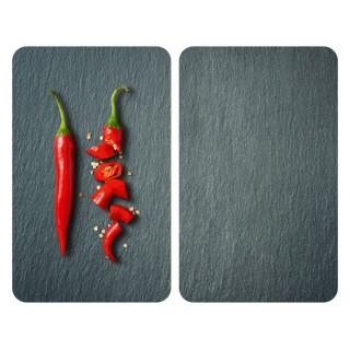 2 Couvre-plaques universel Piment - 30 x 52 cm - Gris et rouge