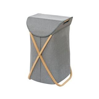 Panier à linge en bambou Bahari - 40 x H. 68 cm - Gris