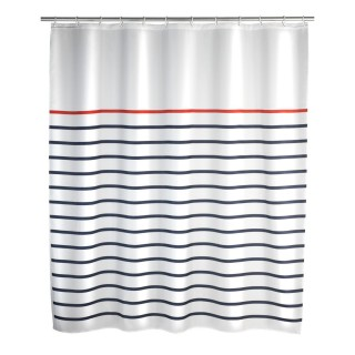 Rideau de douche Marine - Polyester - 180 x 200 cm - Blanc
