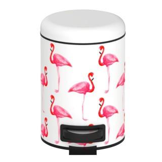 Poubelle à pédale Flamant rose - 3 L - Blanc et rose