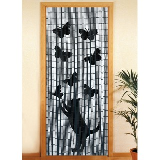 Rideau de porte Chat et Papillon - Bambou - 90 x 200 cm - Gris