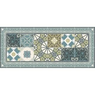 Tapis Vinyle rectangulaire Céleste - 116 x 50 cm - Bleu et vert