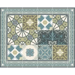 Tapis Vinyle rectangulaire Céleste - 100 x 80 cm - Bleu et vert