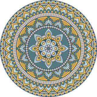 Tapis Vinyle rond Lucas - Diam. 100 cm - Bleu