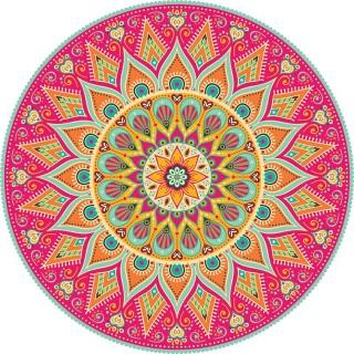 Tapis Vinyle rond Tulum - Diam. 100 cm - Rose
