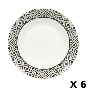 6 Assiettes creuses en porcelaine Kumasi - Diam. 20 cm - Blanc et noir