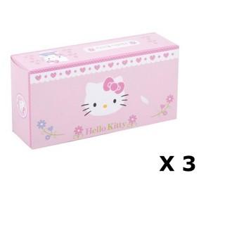 Lot de 3 - Boîte à mouchoirs Hello Kitty - 80 Mouchoirs - Rose pâle