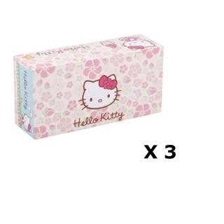 Lot de 3 - Boîte à mouchoirs Hello Kitty - 80 Mouchoirs - Rose à fleurs