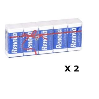 Lot de 2 - 10 Paquets de mouchoirs - Triple épaisseur - Blanc