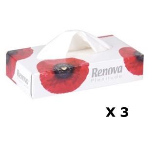Lot de 3 - Boîte à mouchoirs Fleurs - 80 Mouchoirs - Blanc