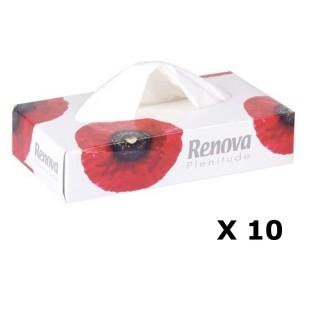 Lot de 10 - Boîte à mouchoirs Fleurs - 80 Mouchoirs - Blanc