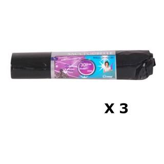 Lot de 3 - 20 Sacs poubelle - 30 L - Noir
