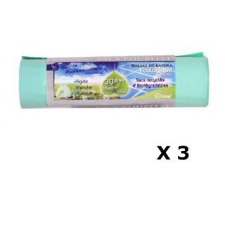 Lot de 3 - 20 Sacs poubelle Ecologiques liens coulissants - 30 L - Vert