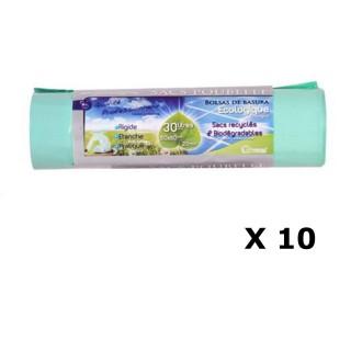 Lot de 10 - 20 Sacs poubelle Ecologiques liens coulissants - 30 L - Vert