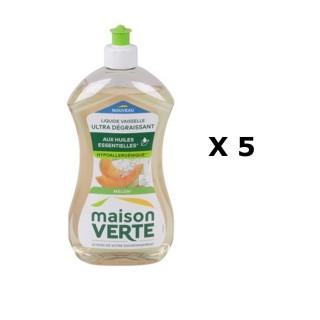 Lot de 5 - Liquide vaisselle Super Dégraissant - 500 ml - Parfum melon