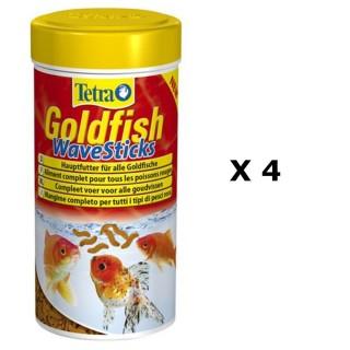 Lot de 4 - Nourriture Poissons rouges Tetra Goldfish Wave Stick - 100 ml