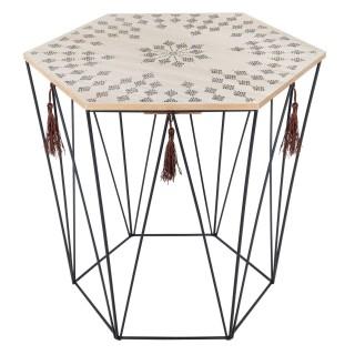 Table à café ethnique Kumi - H. 40 cm - Noir