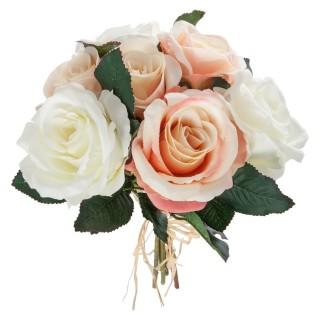 Bouquet de 7 Roses vieillies - H. 30 cm - Blanc et rose