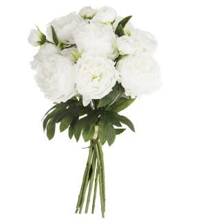 Bouquet artificiel de 13 Pivoines - H. 50 cm - Blanc
