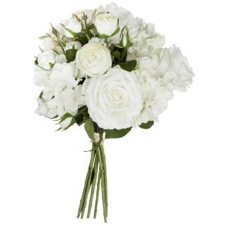 Bouquet artificiel de 18 Fleurs - H. 50 cm - Blanc