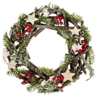 Couronne de Noël en bois et branches - Diam. 32 cm - Vert