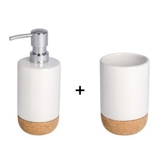 Accessoires de lavabo - Gobelet et distributeur de savon Corc - Blanc