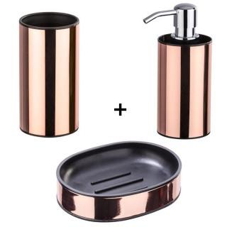 Accessoires de lavabo - Porte-savon, gobelet et distributeur de savon Détroit - Couleur cuivrée