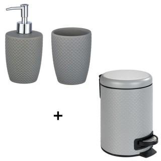 Accessoires de lavabo - Gobelet, distributeur de savon et poubelle Punto - Gris