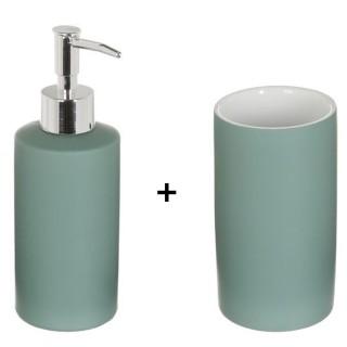 Accessoires de lavabo - Gobelet et distributeur de savon Rubber - Vert kaki