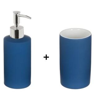 Accessoires de lavabo - Gobelet et distributeur de savon Rubber - Bleu marine