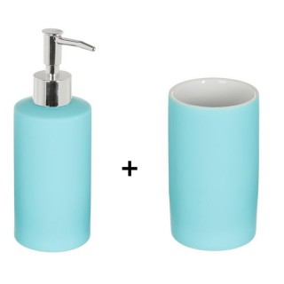 Accessoires de lavabo - Gobelet et distributeur de savon Rubber - Bleu clair