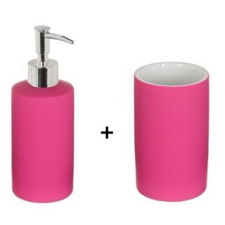 Accessoires de lavabo - Gobelet et distributeur de savon Rubber - Fuchsia