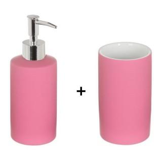 Accessoires de lavabo - Gobelet et distributeur de savon Rubber - Rose