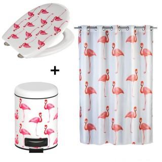 Accessoires de salle de bain - Poubelle, rideau de douche et abbatant WC Flamant - Blanc