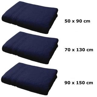 Lot linge de bain - Une serviette de toilette, un drap de bain et maxi drap bain - Bleu foncé
