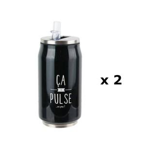 2 Canettes avec paille intégrée - 28 cl - Ca pulse ou pas - Noir