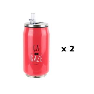 2 Canettes avec paille intégrée - 28 cl - Ca gaz ou pas - Rouge