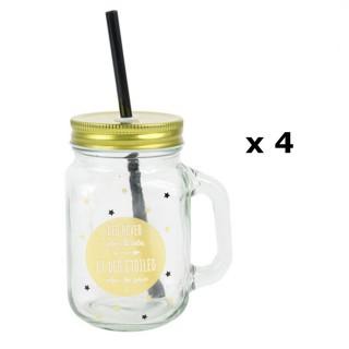 4 Mason Jar Gobelet avec Paille- Etoiles doré - Jaune