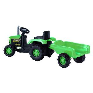 Tracteur enfant à pédales avec remorque - Vert