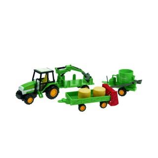 Jouet coffret ferme - Tracteur + 3 Engins agricoles - Vert