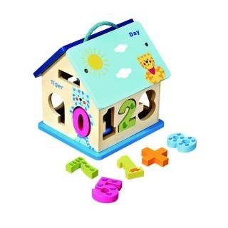 Maison avec chiffres à encastrer - Jouet éducatif - Multicolore