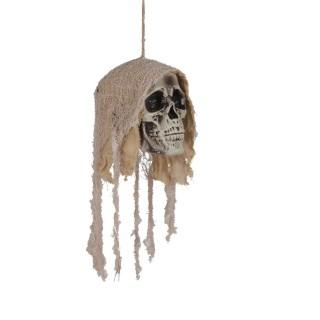 Décoration d'Halloween - Tête de mort à suspendre - Blanc