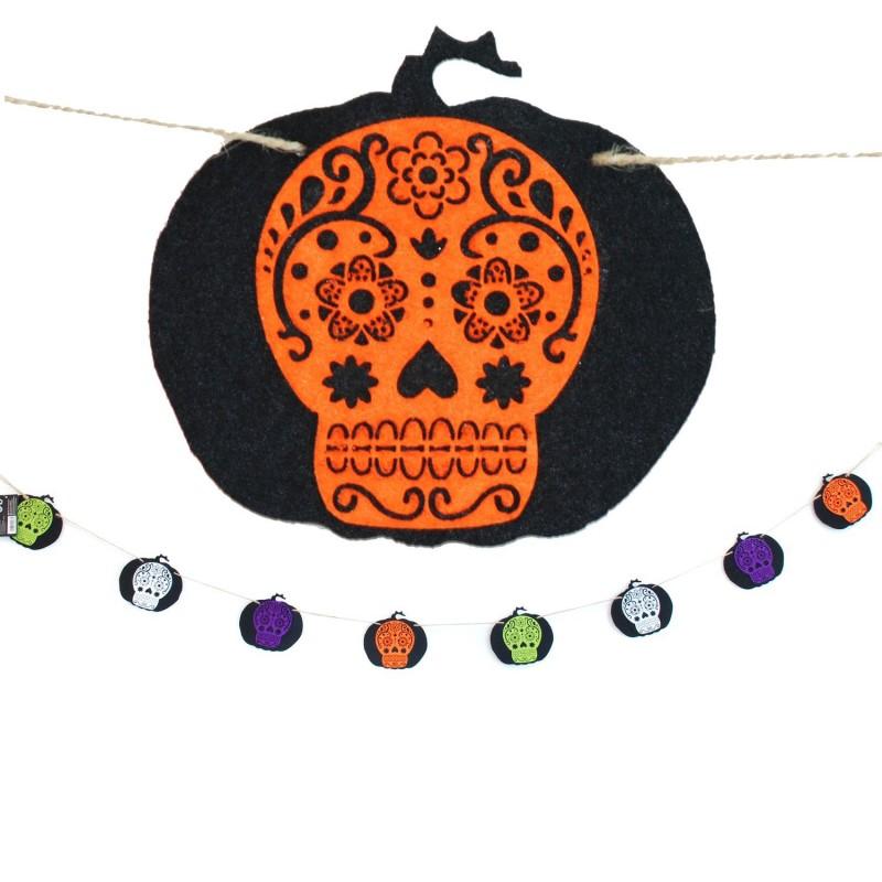 Décoration d'Halloween - Guirlande en feutrine - L. 200 cm