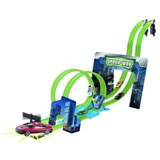Circuit course avec 2 Loopings et 6 Voitures - Vert
