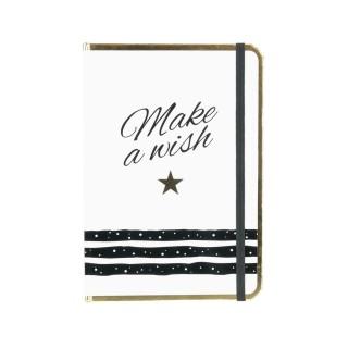 Carnet de notes A5 Make a wish - Fermeture avec élastique - Blanc